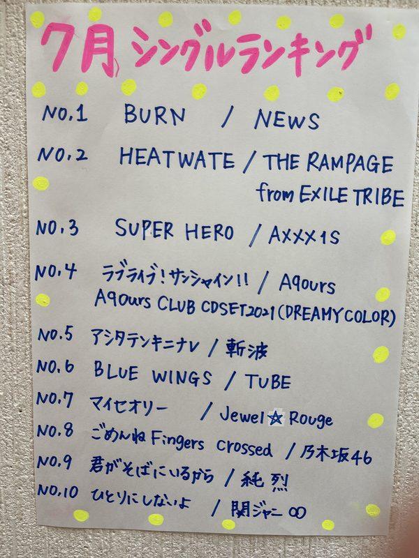 7月★シングルランキング!!
