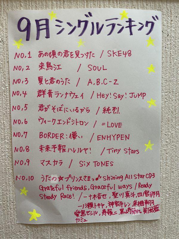9月★シングルランキング!!